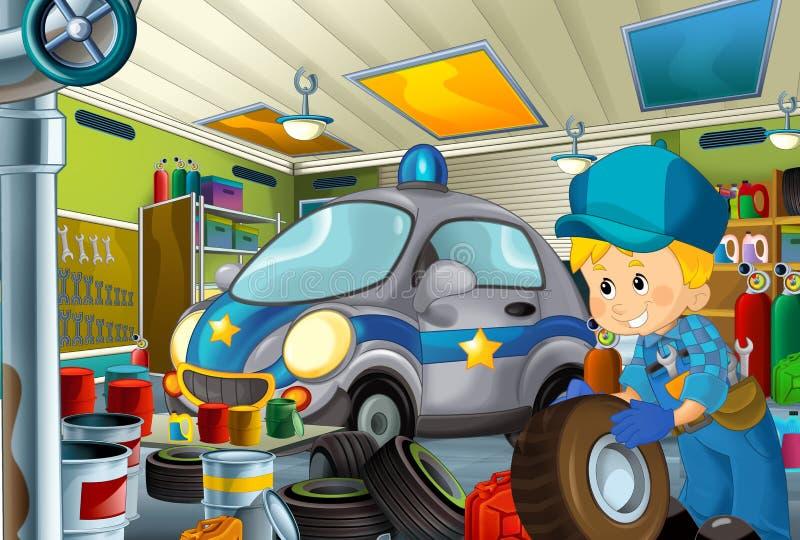 Scène de bande dessinée avec le mécanicien de garage travaillant repearing un certain véhicule - maintenez l'ordre le lieu de tra illustration libre de droits