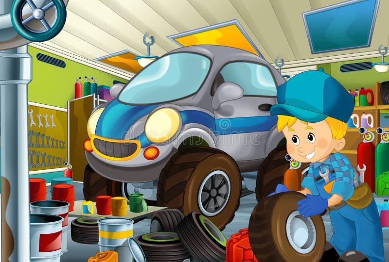 Scène de bande dessinée avec le mécanicien de garage travaillant repearing un certain véhicule - maintenez l'ordre le lieu de tra illustration stock