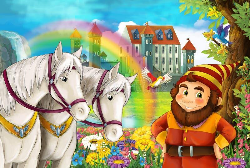 Scène de bande dessinée avec le nain près d'une certains belle cascade d'arc-en-ciel et château médiéval - avec la page de colora illustration de vecteur