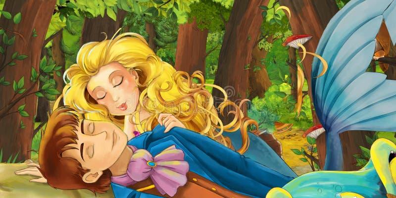 Scène de bande dessinée avec le prince de délivrance de garçon de jeune fille de sirène heureuse de princesse près de la forêt et illustration de vecteur
