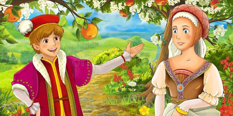 Download Scène De Bande Dessinée Avec Le Prince Royal Mignon Et La Fille Avec Du Charme De Manga Sur Le Pré Illustration Stock - Illustration du jardin, pré: 76083693
