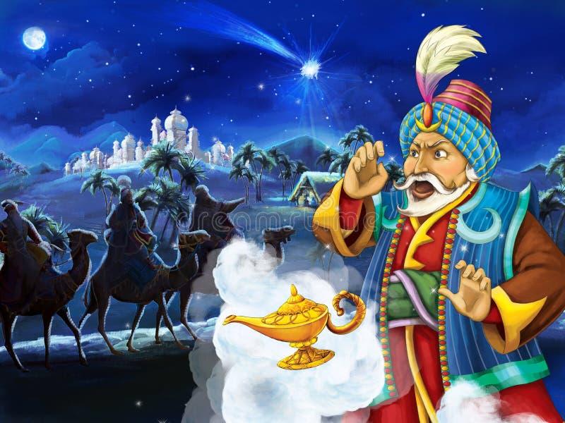 Scène de bande dessinée avec le roi regardant trois cavaliers sur des chameaux par nuit photos stock