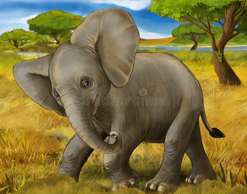 Scène de bande dessinée avec peu d'éléphant sur le carnet à dessins de coloration de page de safari blanc de fond illustration de vecteur