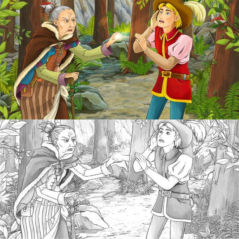 Scène de bande dessinée avec un homme noble et une sorcière qui ont jeté le sort sur lui illustration stock