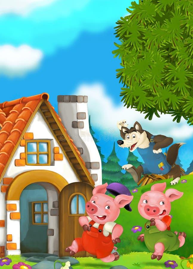 Scène de bande dessinée de deux porcs courants à la maison de leur frère illustration de vecteur