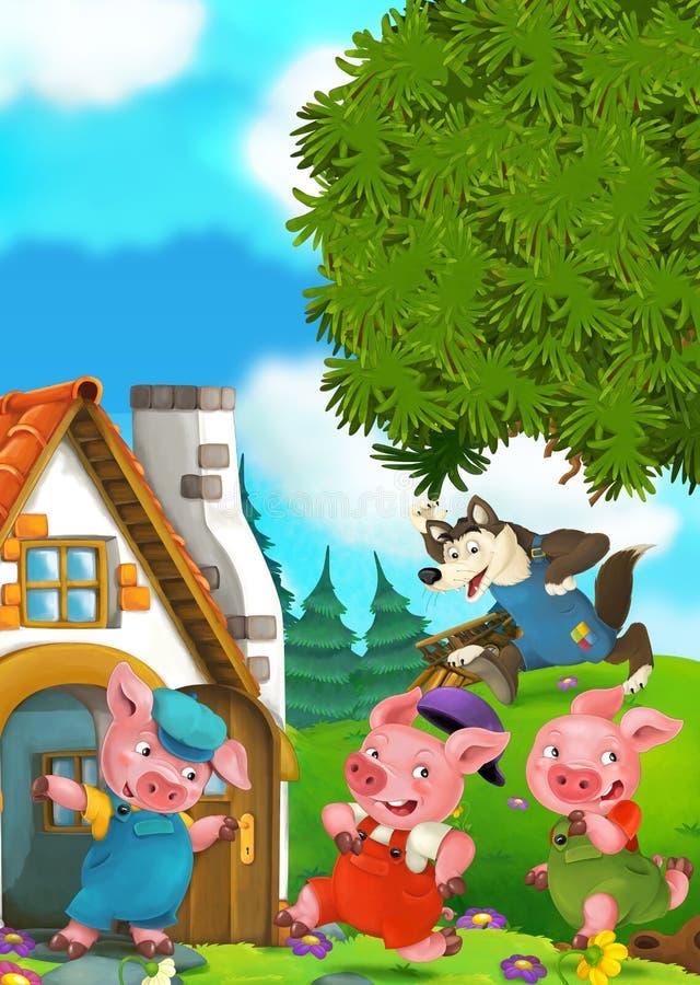 Scène de bande dessinée de deux porcs courants à la maison de leur frère illustration stock