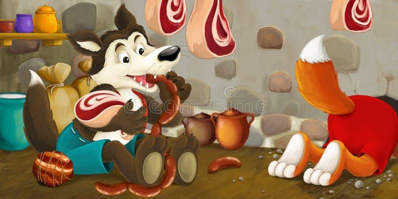 Scène de bande dessinée du renard et du loup volant la nourriture du sous-sol illustration libre de droits