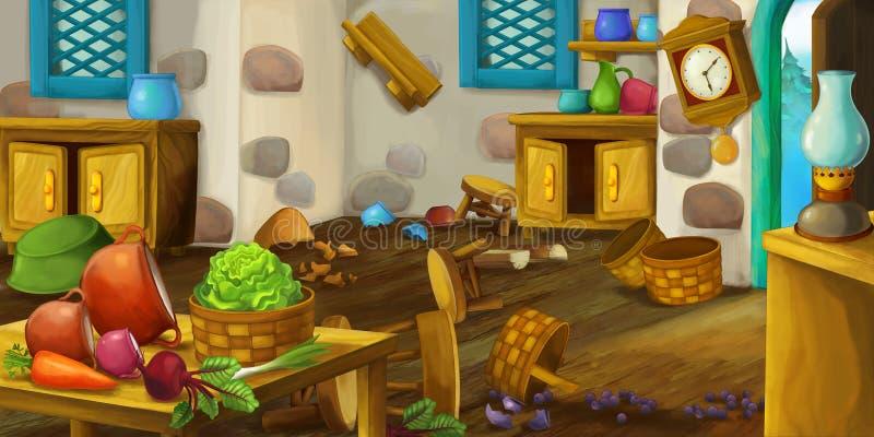 Scène de bande dessinée de la cuisine démodée - illustration pour des enfants pour l'utilisation différente illustration libre de droits
