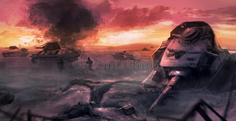 Scène de bataille de guerre de réservoir illustration libre de droits