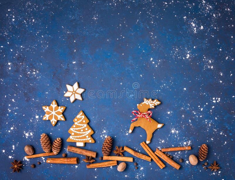 Scène de biscuits de Noël de pain d'épice avec des épices au-dessus de bleu photographie stock libre de droits