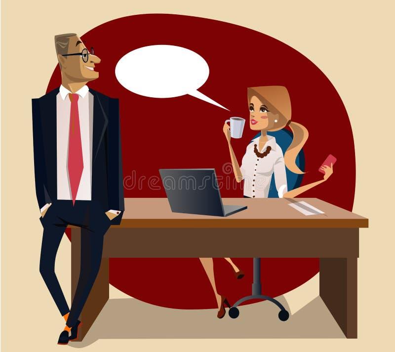 Scène de bureau avec la femme et l'homme sur la table illustration libre de droits