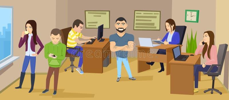 Scène de caractère d'affaires Local commercial de travail d'équipe illustration stock