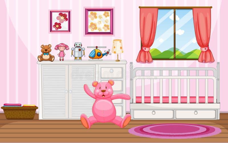 Scène de chambre à coucher avec la huche teddybear et blanche rose illustration libre de droits