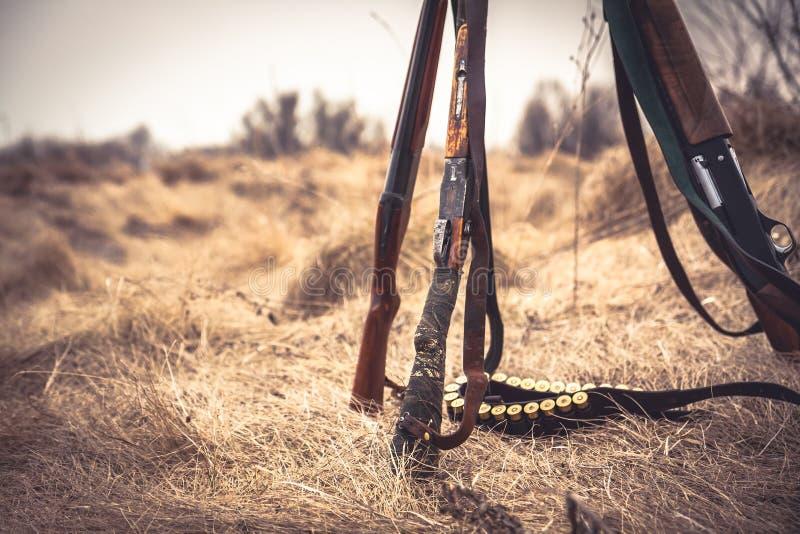 Scène de chasse avec les fusils de chasse de chasse et la ceinture de munitions sur l'herbe sèche dans le domaine rural pendant l images libres de droits