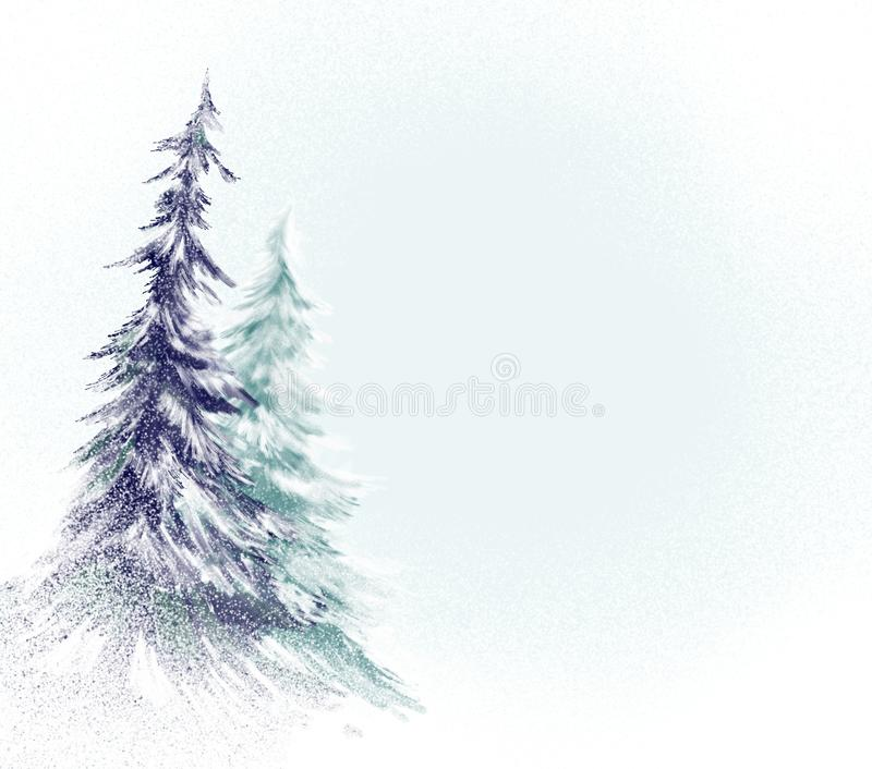 Scène de chute de neige avec des arbres de pin ou de Noël