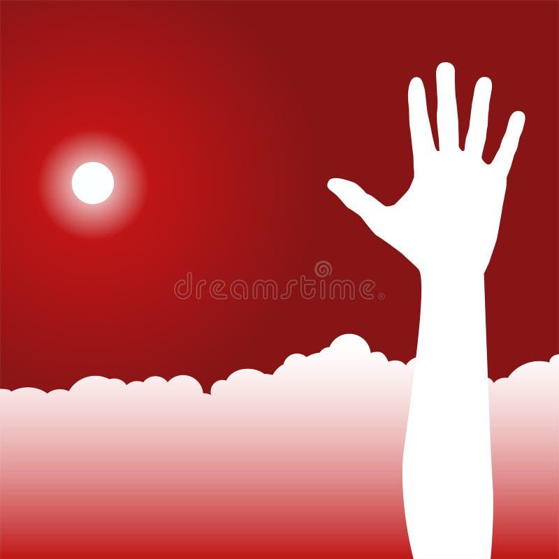 Scène de ciel de jour - relèvement de la main illustration stock