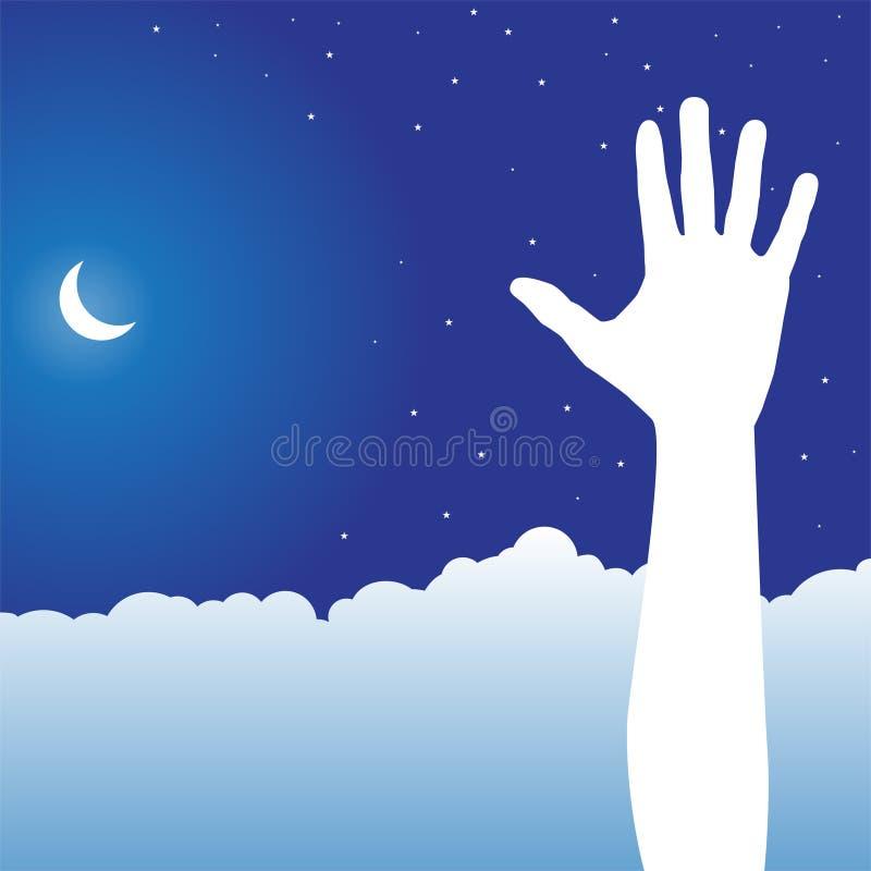 Scène de ciel de nuit - main illustration libre de droits
