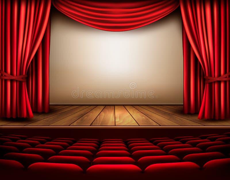 Scène de cinéma ou de théâtre avec un rideau illustration de vecteur