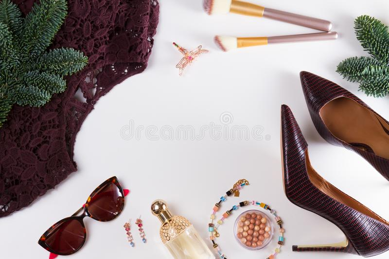 Scène de configuration d'appartement de Noël de mode photographie stock libre de droits