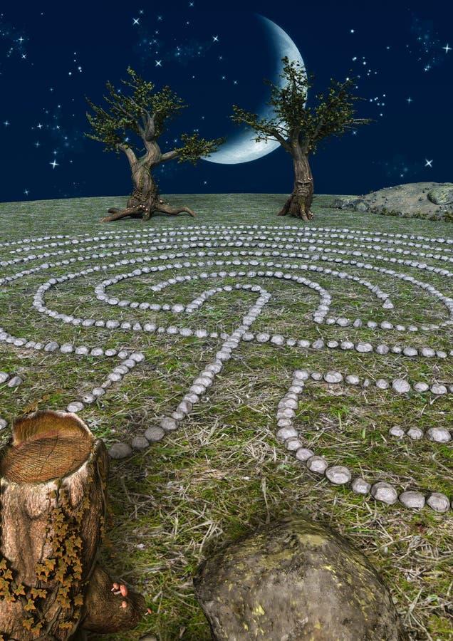 Scène de conte de fées d'un labyrinthe en pierre illustration libre de droits