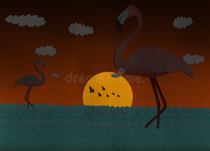 Scène de coucher du soleil avec le flamant du papier réutilisé illustration libre de droits