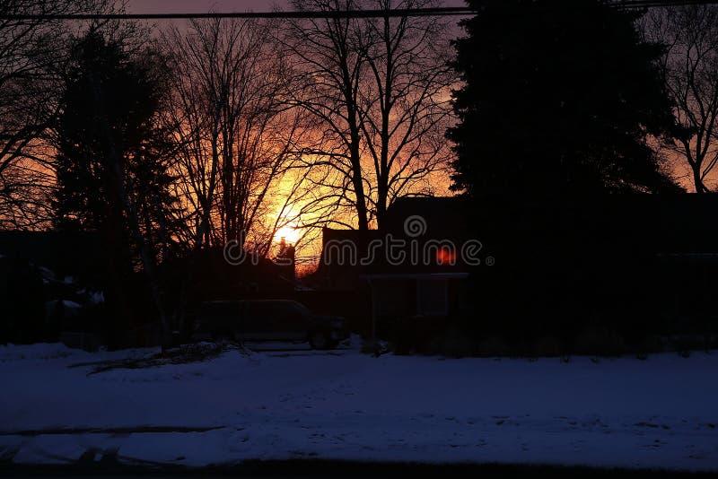Scène de coucher du soleil dans Whitby, Ontario image stock
