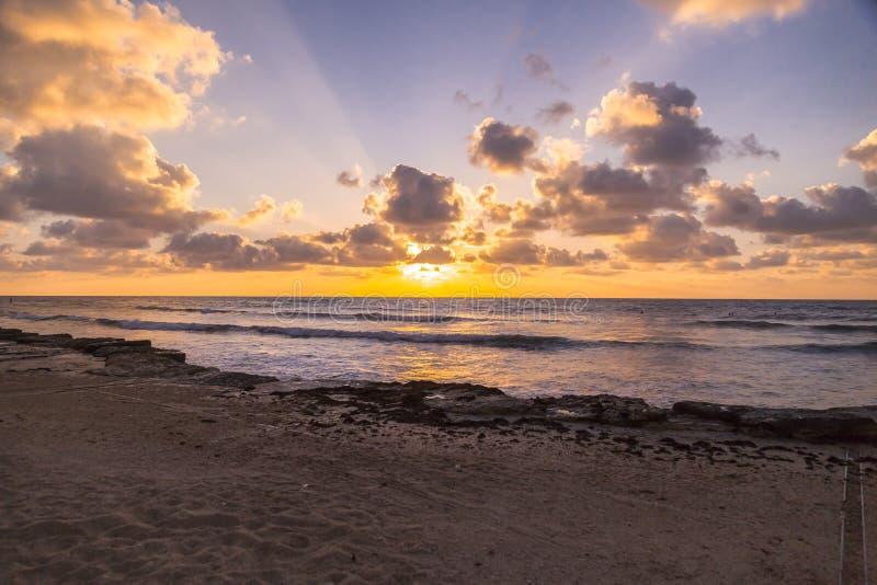 Scène de coucher du soleil de Haïfa photos stock