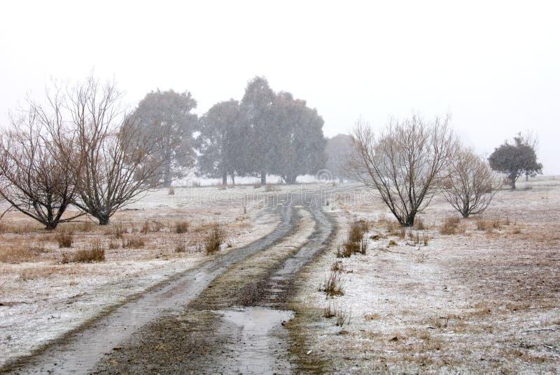 Scène de ferme de l'hiver photographie stock libre de droits