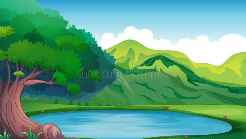 Scène de fond avec l'étang dans la montagne illustration de vecteur