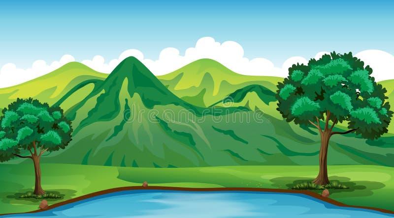 Scène de fond avec la montagne et l'étang verts illustration stock