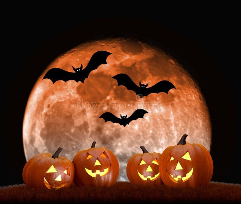 Scène de fond de Halloween avec la pleine lune, les potirons et les battes illustration libre de droits