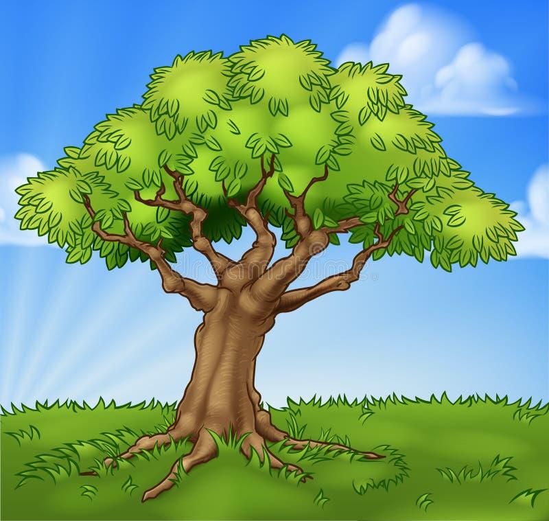 Scène de fond de paysage de champ d'arbre de bande dessinée illustration libre de droits