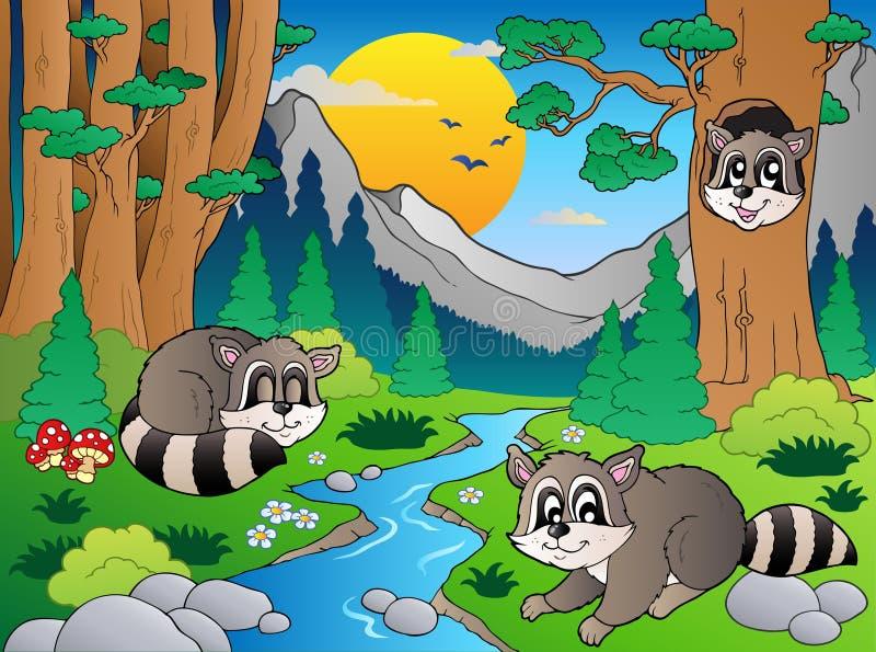 Scène de forêt avec les divers animaux 6 illustration libre de droits