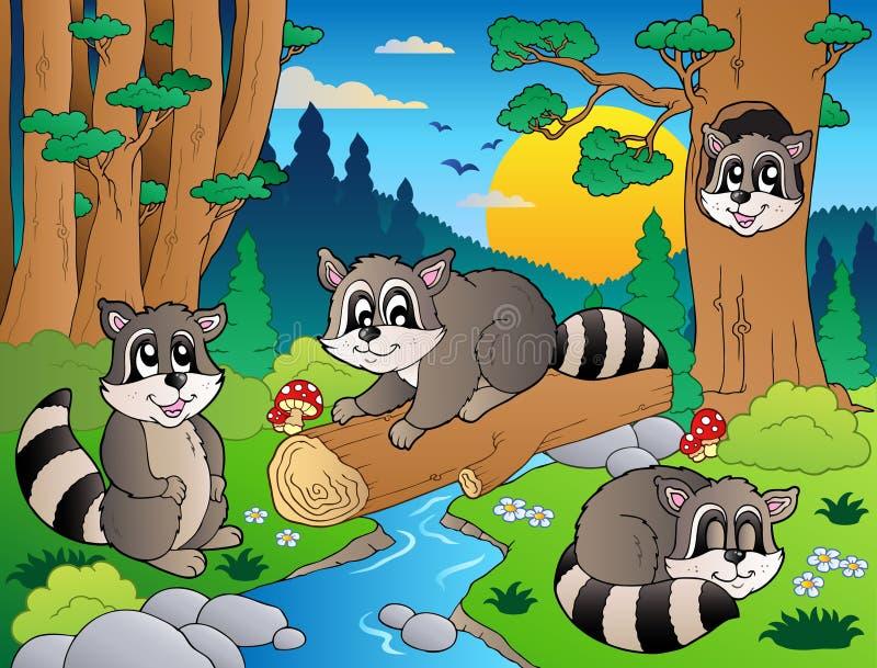 Scène de forêt avec les divers animaux 7 illustration libre de droits