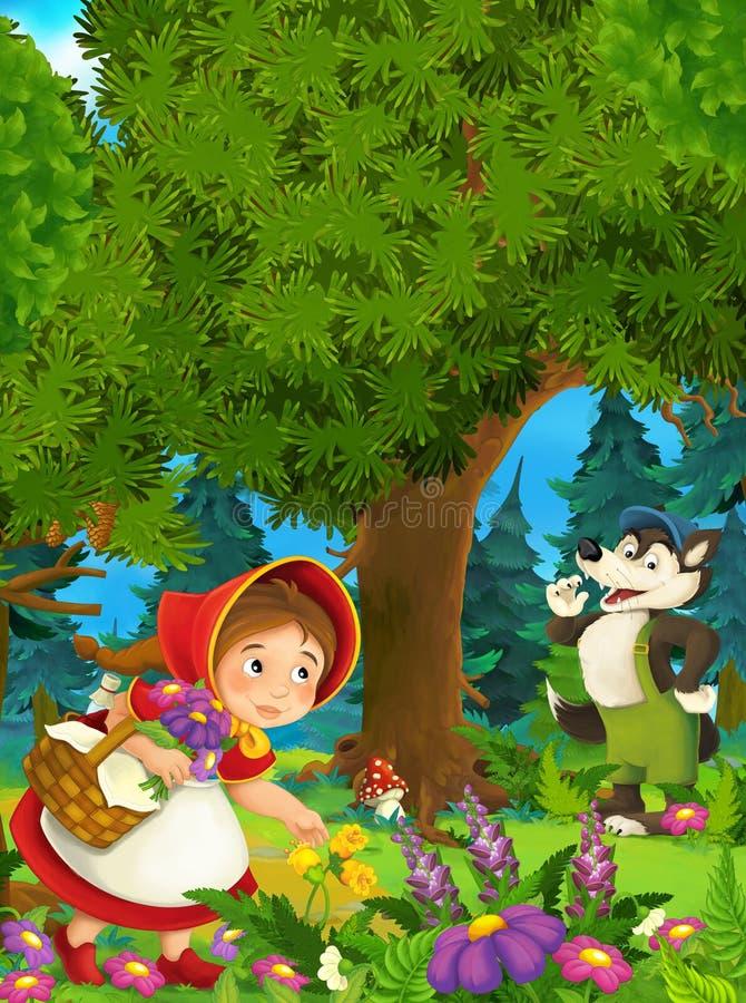 Scène de forêt de bande dessinée - loup souriant à la petite fille - bonne pour différents contes de fées illustration libre de droits