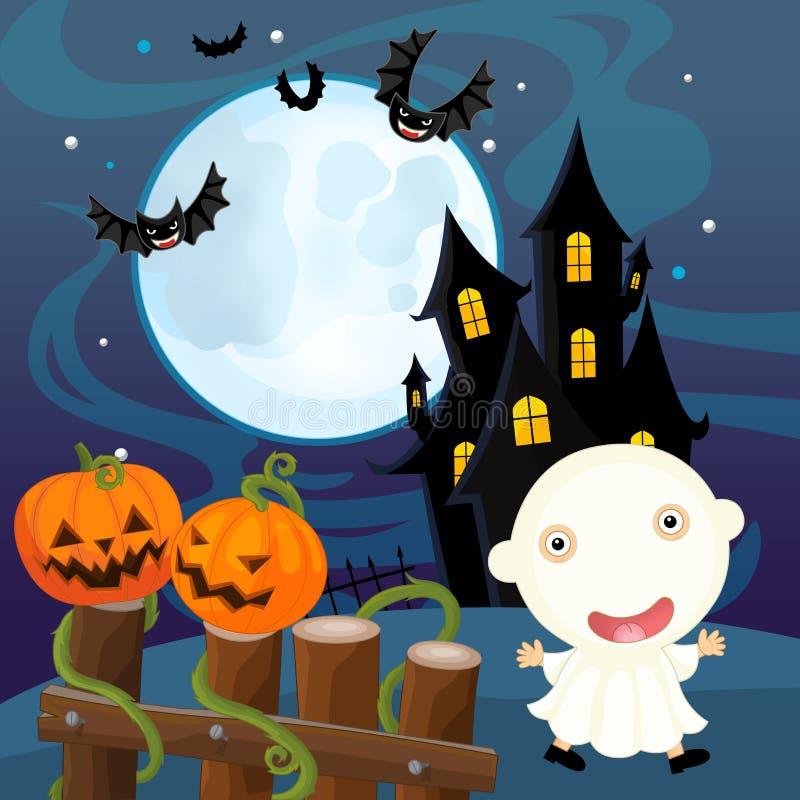 Scène de Halloween de bande dessinée - potiron et fantôme illustration libre de droits