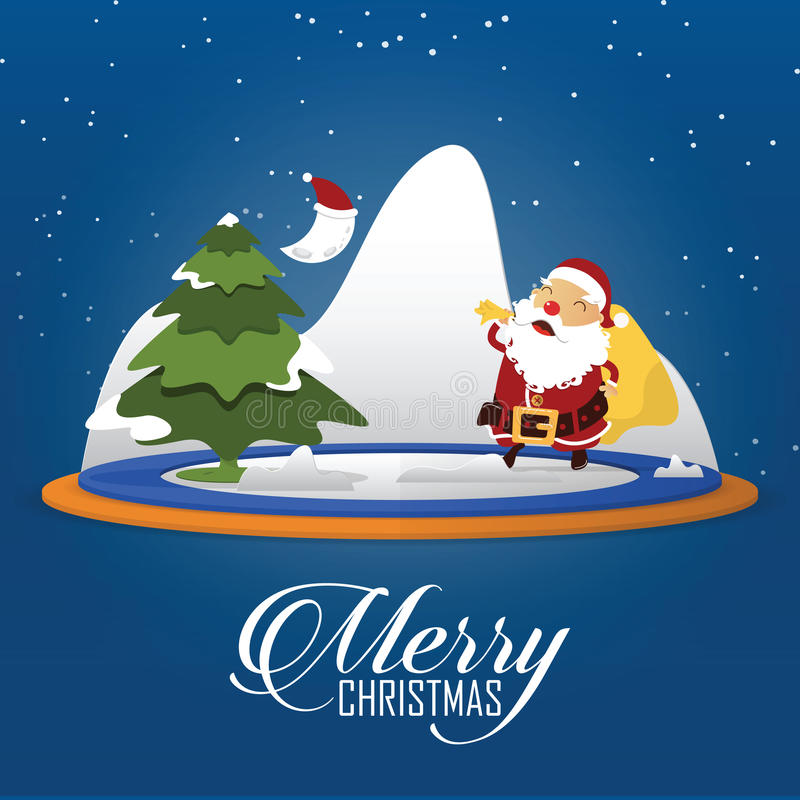 Scène de Joyeux Noël avec le sac de transport à Santa Claus complètement de cadeaux le chef heureux de crabots mignons effrontés  illustration libre de droits