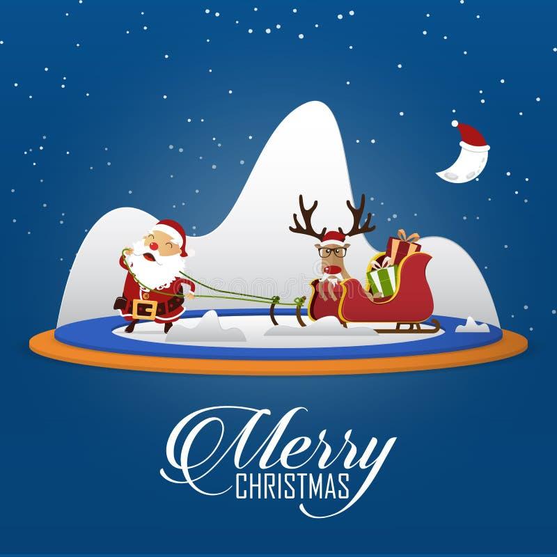 Scène de Joyeux Noël avec Santa Claus tirant le traîneau et le renne de Santa Clauss le chef heureux de crabots mignons effrontés illustration libre de droits