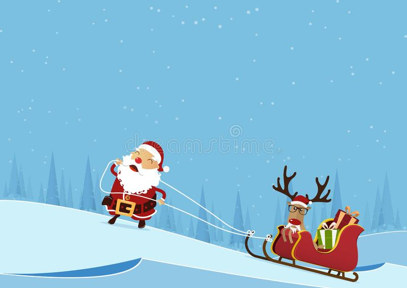 Scène de Joyeux Noël avec Santa Claus tirant le traîneau et le renne de Père Noël sur le fond de paysage d'hiver de forêt de pin illustration libre de droits