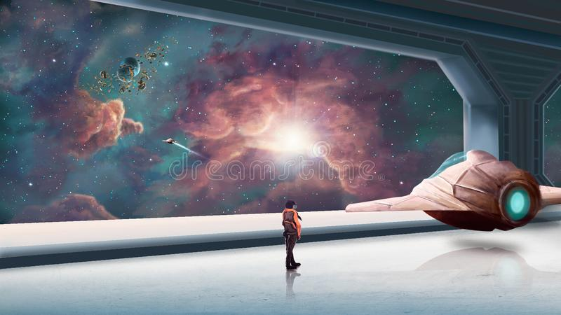 Scène de l'espace avec la nébuleuse bleue et orange Éléments meublés par N illustration de vecteur