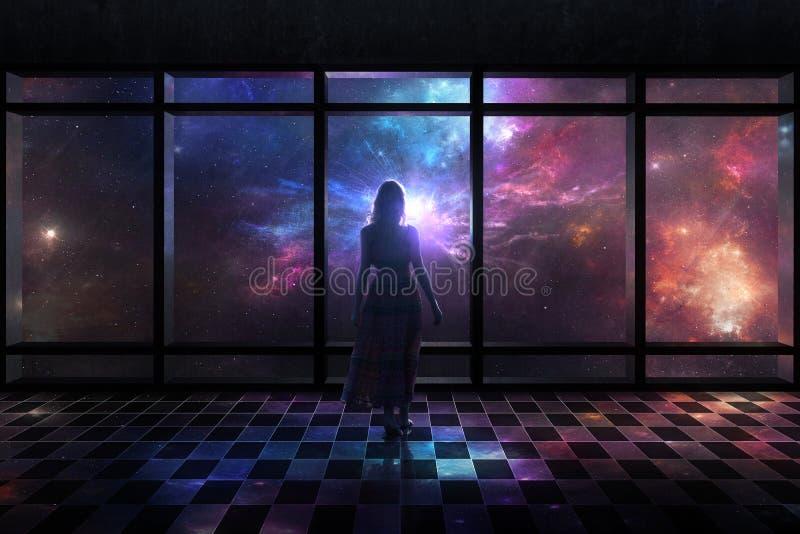 Scène de l'espace par la fenêtre photos stock