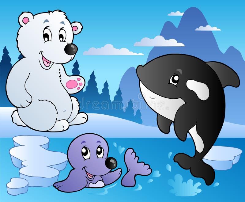Scène de l'hiver avec les divers animaux 3 illustration libre de droits