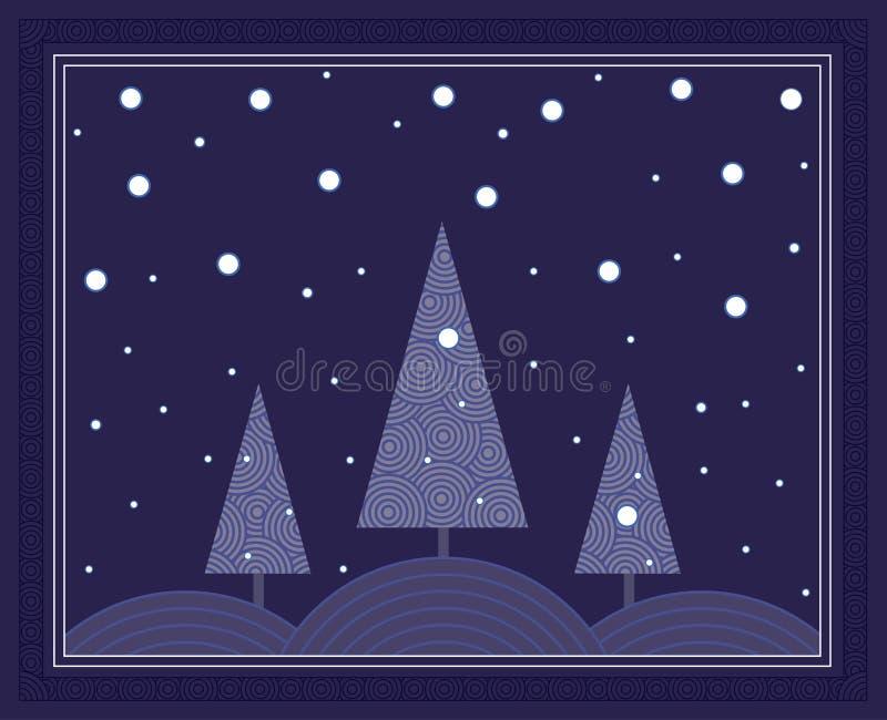 Scène de l'hiver de nuit illustration de vecteur