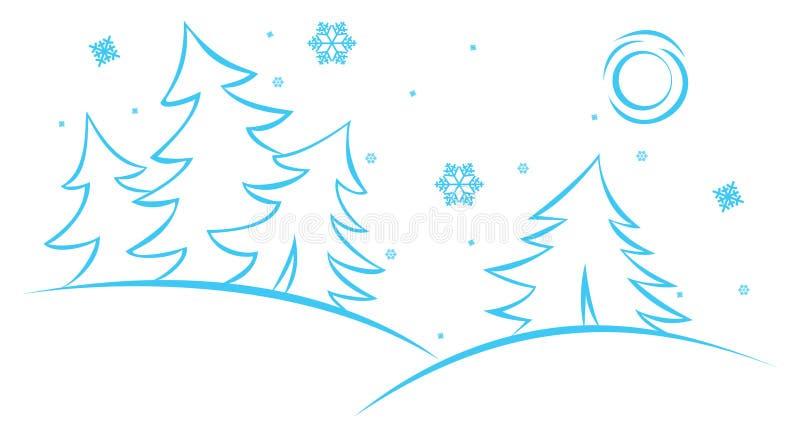 Scène de l'hiver de vecteur illustration stock