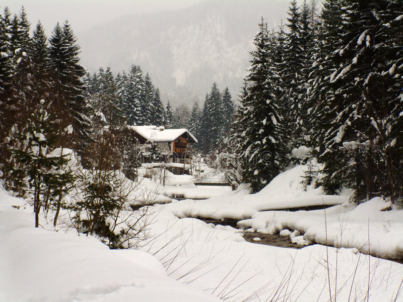 Scène de l'hiver en Autriche photographie stock