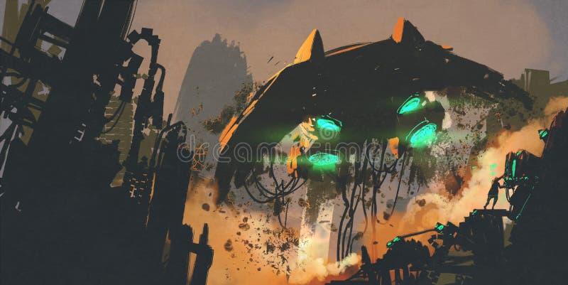 Scène de la science fiction montrant l'homme reconstituant le vaisseau spatial illustration de vecteur