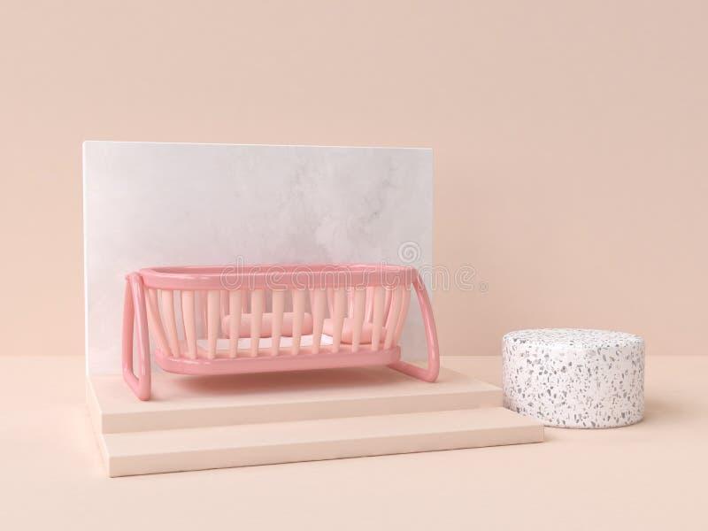 scène de marbre d'abrégé sur berceau de bébé de rose du rendu 3d illustration libre de droits