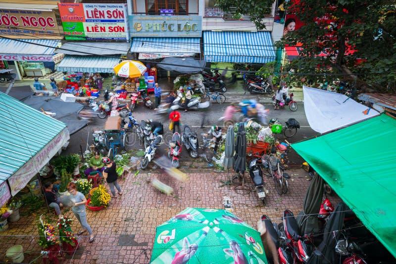 Scène de marché en plein air, trang de Nha, Vietnam photos libres de droits