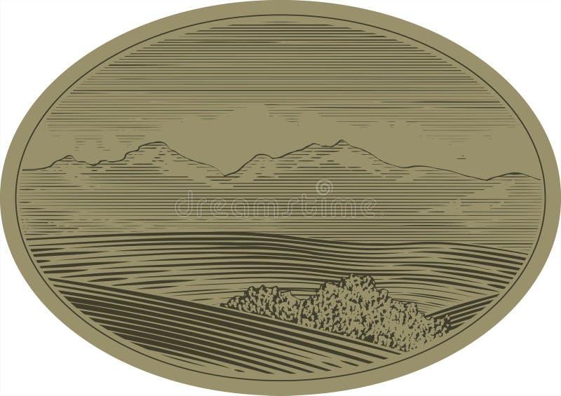 Scène de montagne de gravure sur bois illustration libre de droits