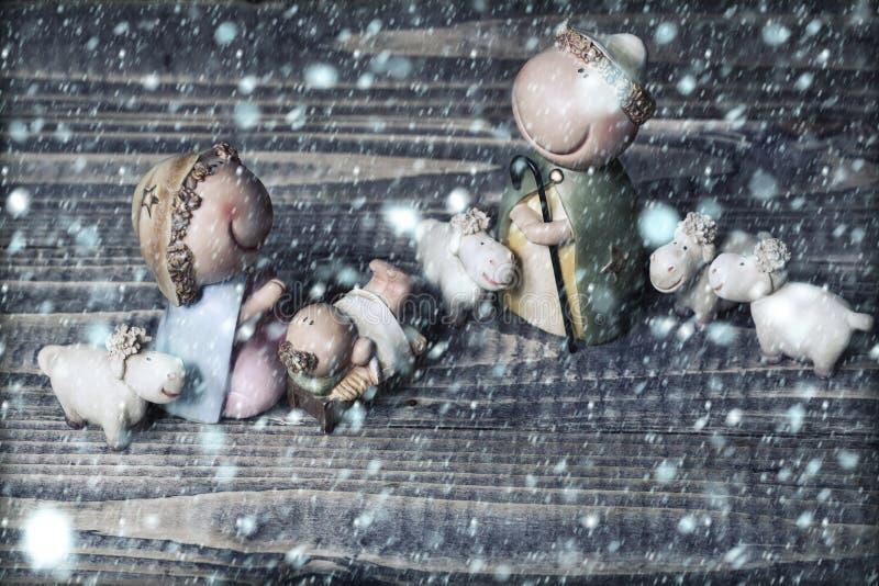 Scène de naissance de Jésus photos libres de droits
